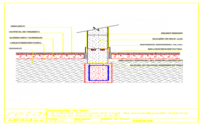 Bed Concrete Wall Of Block At Beam Of Inferior Reinforcement Design Drawing