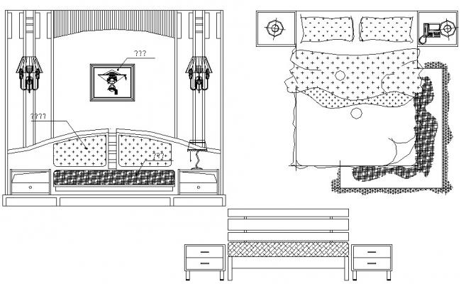 Bed design drawing in autocad