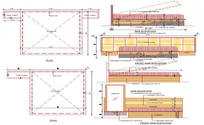 Bed detail cad drawing