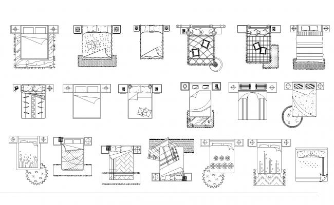 Bed plan detail dwg file.
