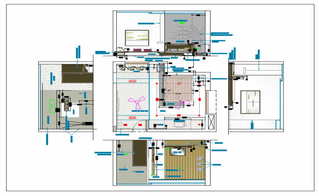 Bed room plan and elevation view detail dwg file