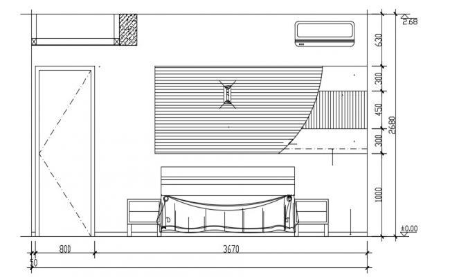 Bedroom Elevation Design AutoCAD Drawing Free Download