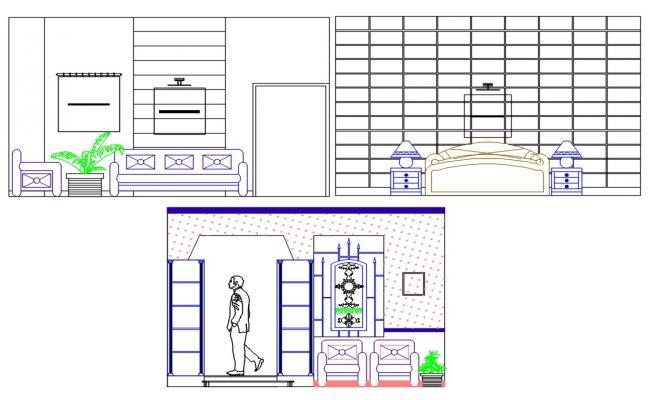 Bedroom Elevation Design DWG File