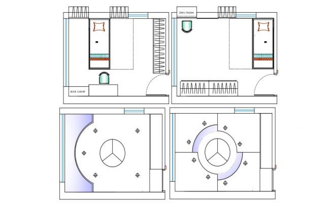 Bedroom Plan and Ceiling Design AutoCAD drawing