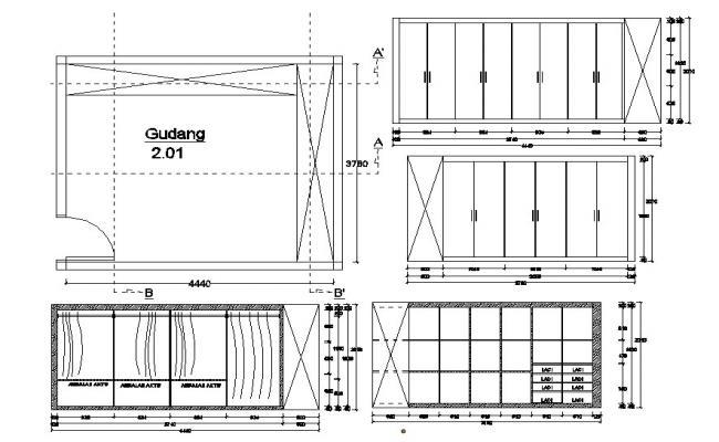 Bedroom Wardrobe Drawing DWG File