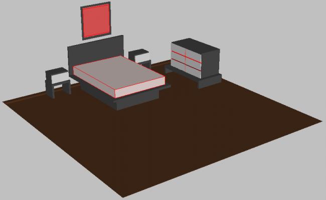 Bedroom drawing in 3D