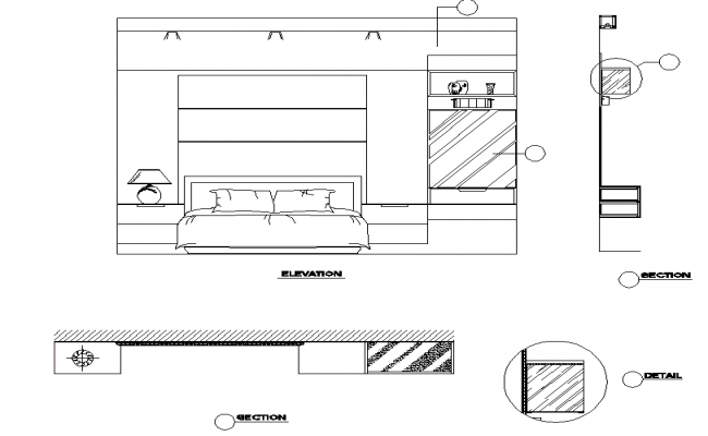 Bedroom elevation and section dwg file