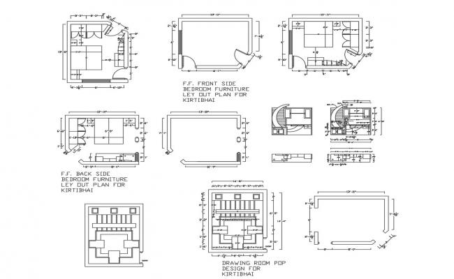 Bedroom layout,ceiling layout in autocad