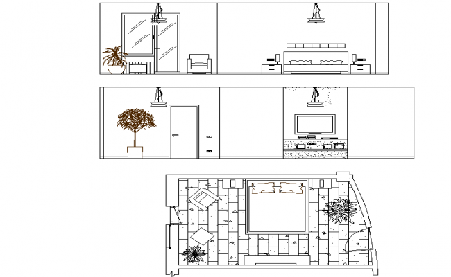 Bedroom plan, tv unit design dwg file