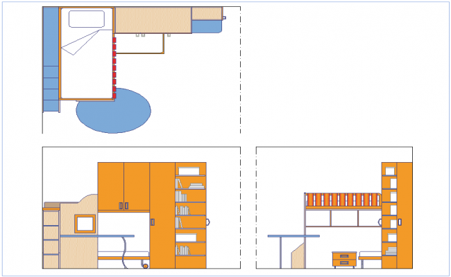 Bedroom plan,elevation and side view dwg file
