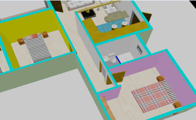 Bedroom plan 3d  detail