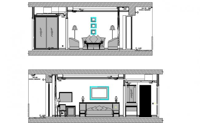 Bedroom Sectional Elevation Detail Dwg File