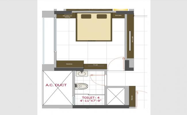 Bedroom with attached toilet layout plan details pdf file