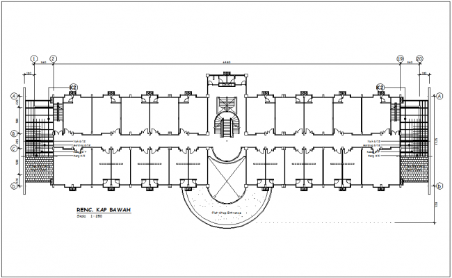 Below plan of corporate building with architectural view dwg file