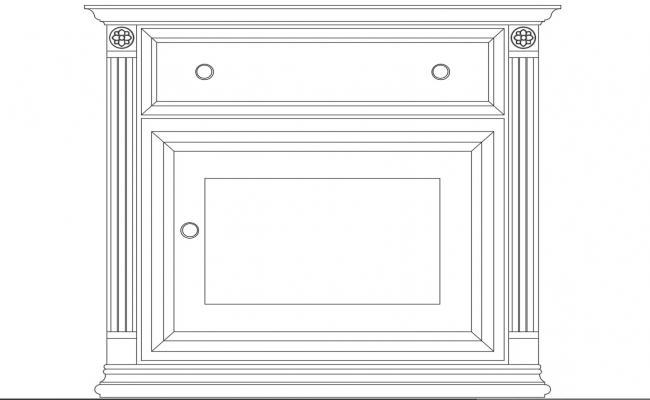 Beside bedroom cabinet front elevation cad block details dwg file