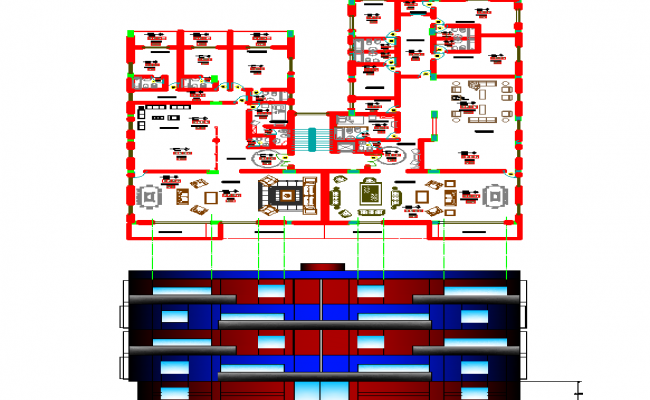 Big Layout plan of a building and elevation dwg file