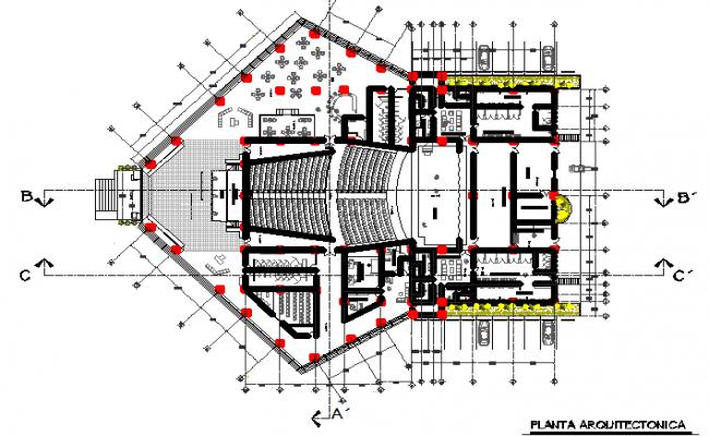 big auditorium layout plan dwg file