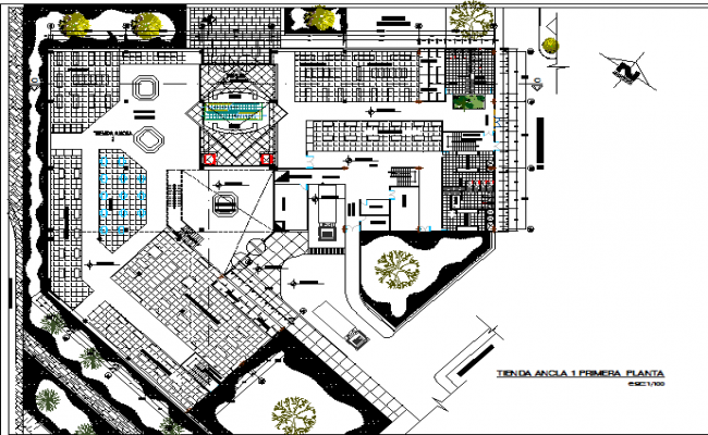 Big building architectural plan dwg file