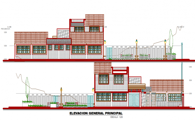 Big elevation of a education center dwg file