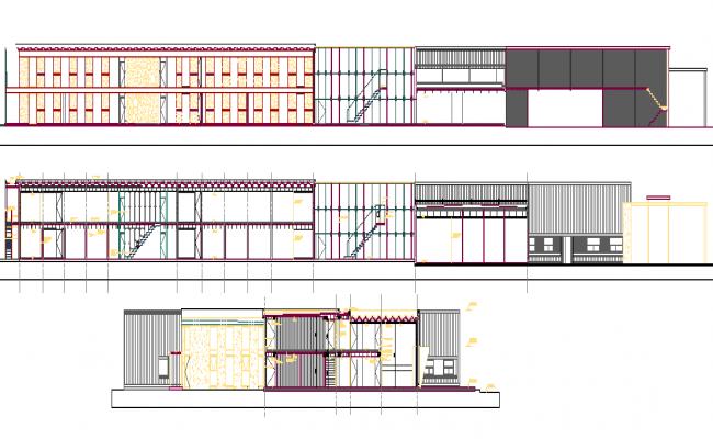 Big office 2d elevation details dwg file