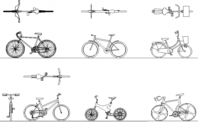 Free Bicycle view In AutoCAD Drawings