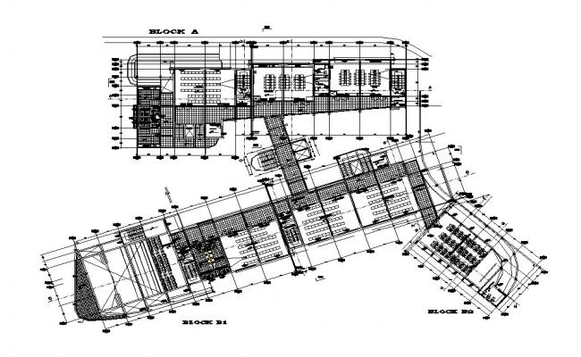 Block A, B, C distribution layout plan details of industrial plant dwg file