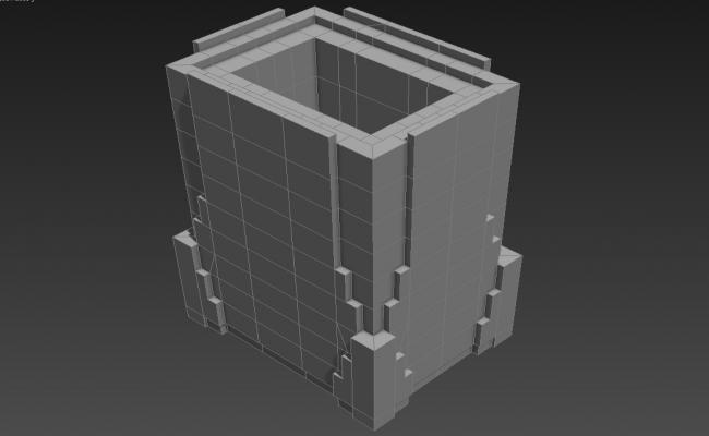 Block Elevation of High Rise Commercial Building 3D MAX File Free