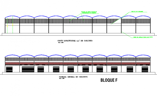 Block F elevation and section market supply plan autocad file