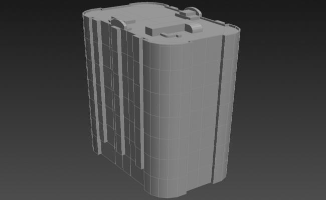 Block Round Elevation of Commercial Building 3D MAX File Free