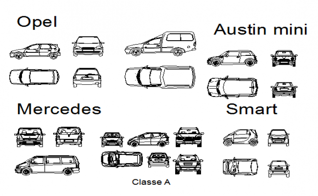 Block cars plan detail dwg file.