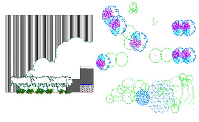 Block design view of tree dwg file