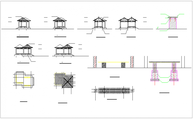 Block of different constriction view dwg file