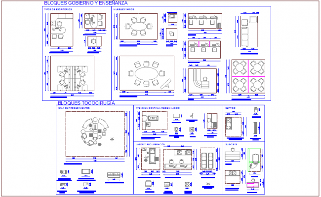 Block of different furniture view for hospital dwg file