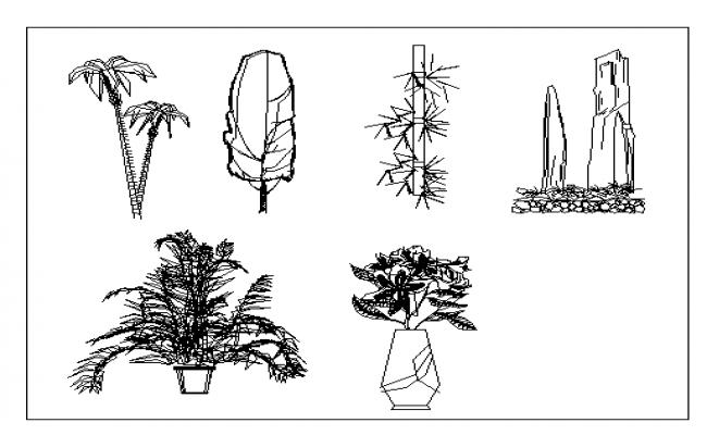 Block of trees dwg file
