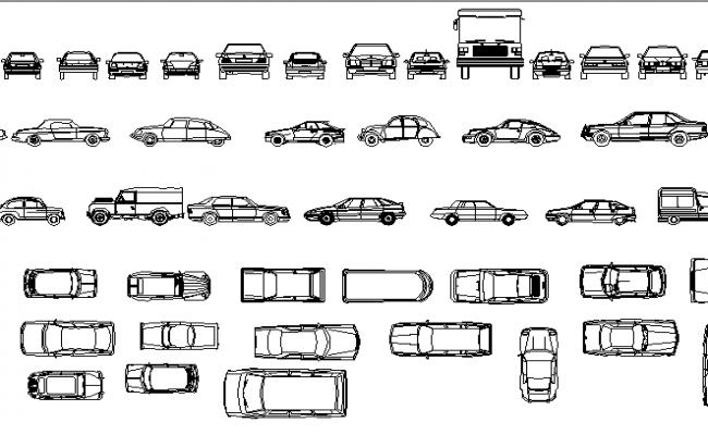 Blocks Details Of Multiple Car Design Dwg File