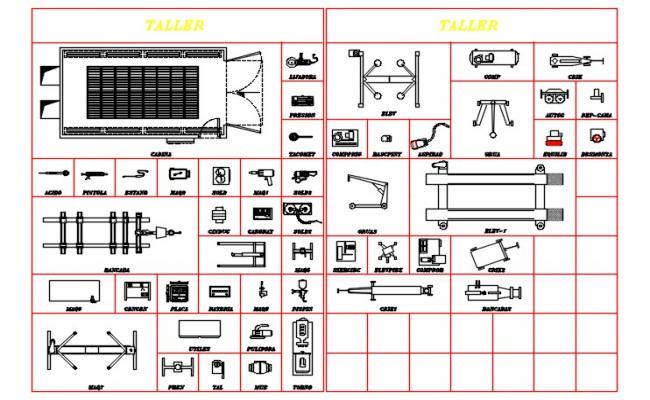 Blocks of shop tools