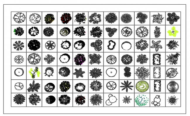 Blocks of small plants for both exterior and interior dwg file