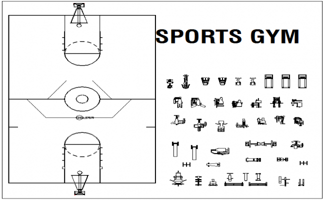 Blocks sports gym equipment view dwg file