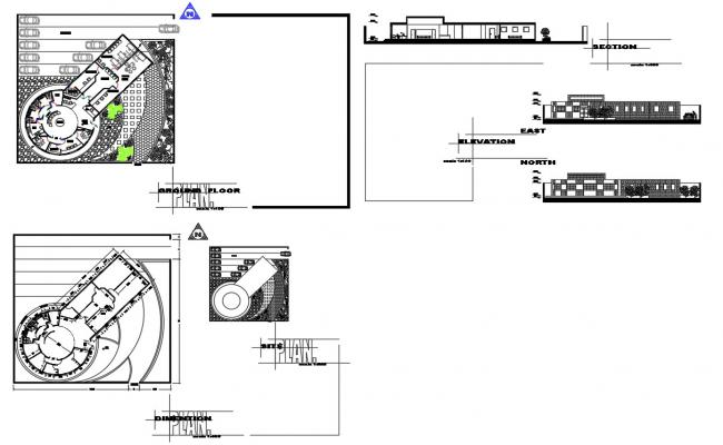 Blood center clinic elevation, section and plan details dwg file