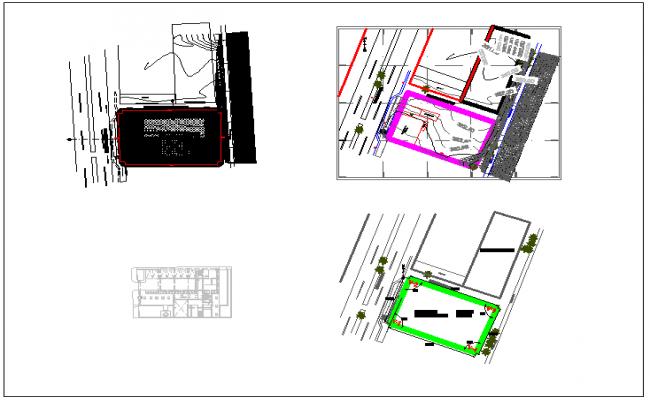 Blu-print of plan layout of location detail dwg file