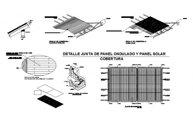 Board of rolled panel and solar panel coverage cad electrical details dwg file