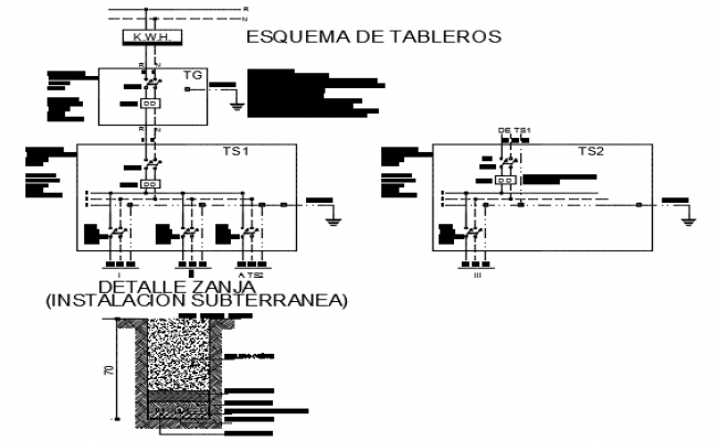 Board scheme and ditch detail dwg file