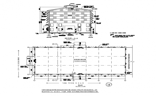 Boiler house building plan and section detail 2d view layout file