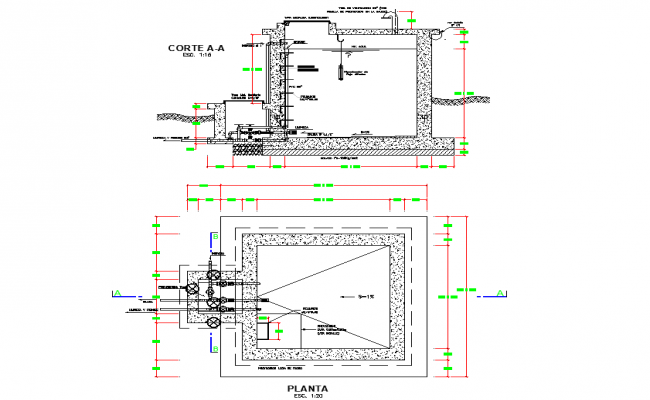 Booth valve plan and section dwg file