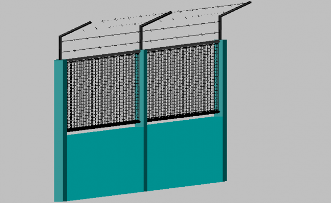 Boundary fencing 3d view dwg file
