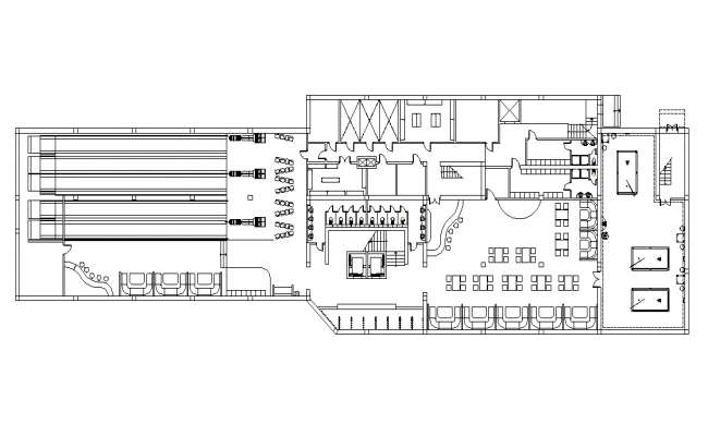 bowling game zone architectural layout plan
