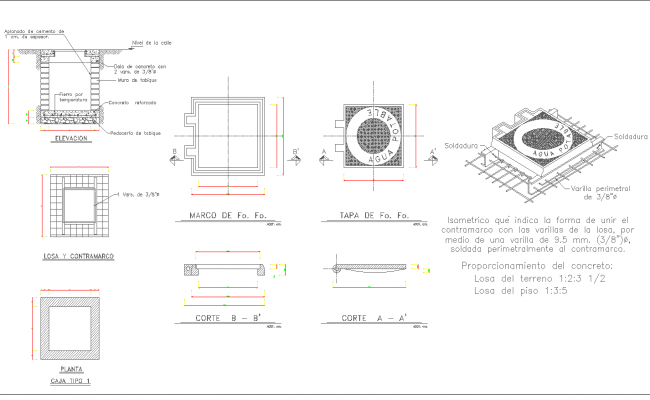Box type construction detail cad drawing
