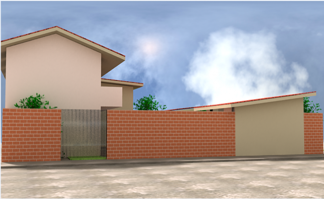 Brick compound wall layout of college dwg file