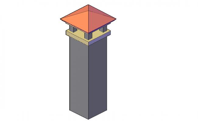 Brick chimney front 3d elevation
