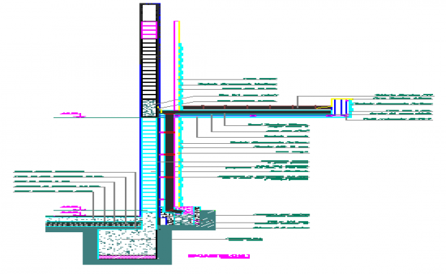 Brick wall detail and rain water down design drawing
